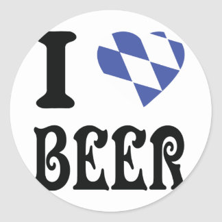 I love beer classic round sticker