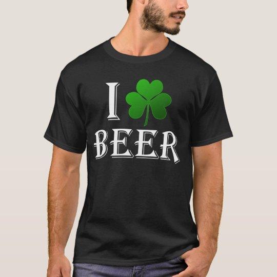 I Love Beer, Clover Shamrock St. Patricks Day T-Shirt