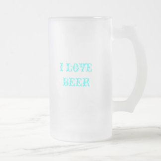 I LOVE BEER FROSTED GLASS BEER MUG