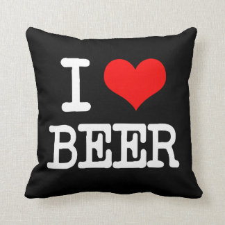 I Love Beer funny pillow saying