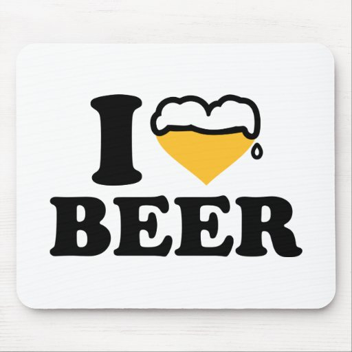 I love beer heart mouse pads