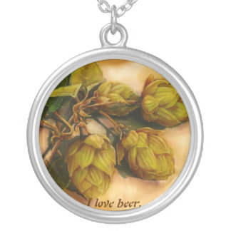 I love beer. Hops. Round Pendant Necklace