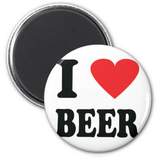 I love beer icon 2 inch round magnet