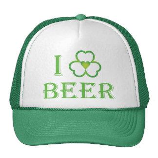 I Love Beer Irish Shamrock Shirt Mesh Hats