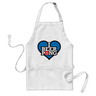 I Love Beer Pong - Blue Adult Apron