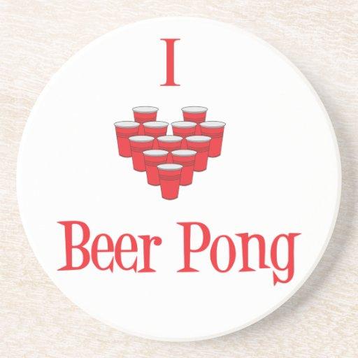 I Love Beer Pong Coaster