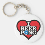 I Love Beer Pong - Red Keychains