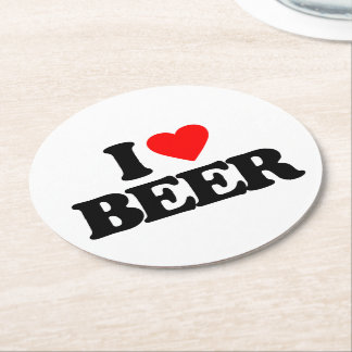 I LOVE BEER ROUND PAPER COASTER