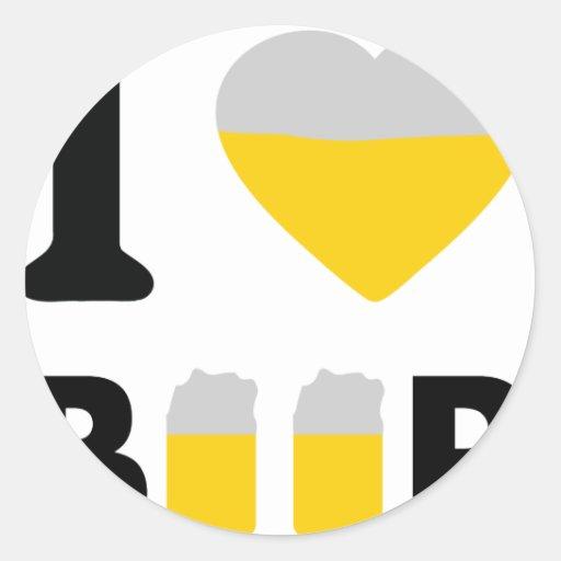I Love beer Round Stickers