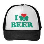 I Love Beer Shamrock Trucker Hat