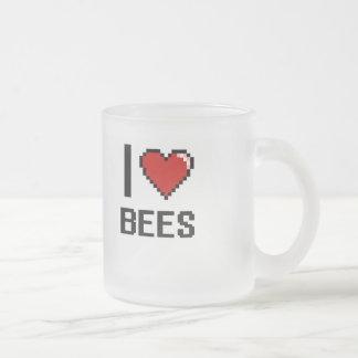 I love Bees Digital Design 10 Oz Frosted Glass Coffee Mug