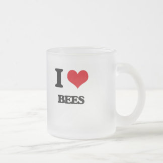 I love Bees 10 Oz Frosted Glass Coffee Mug