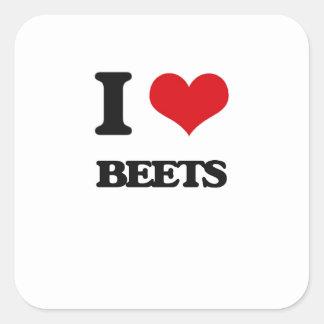I Love Beets Square Sticker
