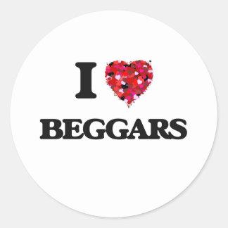 I Love Beggars Classic Round Sticker