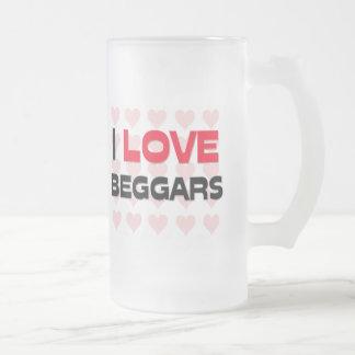 I LOVE BEGGARS FROSTED GLASS BEER MUG