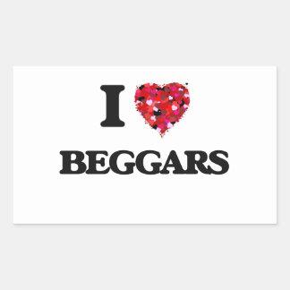 I Love Beggars Rectangular Sticker