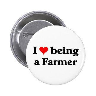 I love being a farmer pinback button