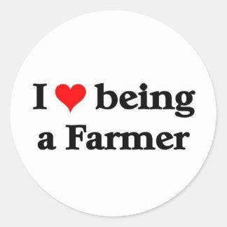I love being a farmer round sticker