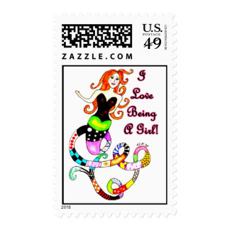 """I Love Being A Girl"" Mermaid Postage"
