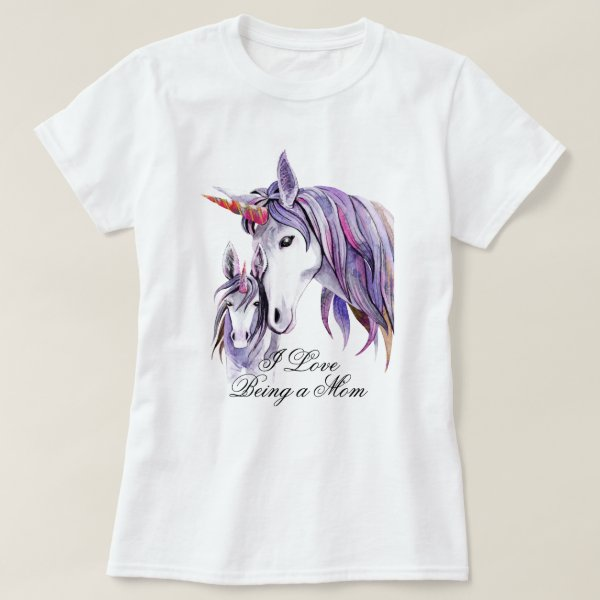 I Love Being a Mom Purple Unicorns Mom and Baby T-Shirt