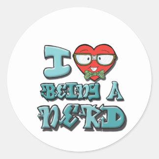 I Love Being A Nerd Classic Round Sticker