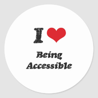 I Love Being Accessible Classic Round Sticker