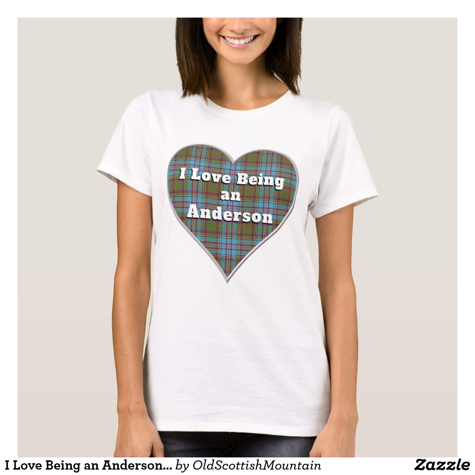 I Love Being an Anderson Clan Tartan Plaid Heart T-Shirt - Best Selling Long-Sleeve Street Fashion Shirt Designs
