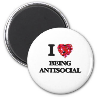 I Love Being Antisocial 2 Inch Round Magnet