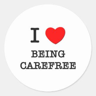 I Love Being Carefree Round Sticker