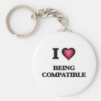 I love Being Compatible Keychain