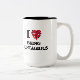 I love Being Contagious Two-Tone Coffee Mug