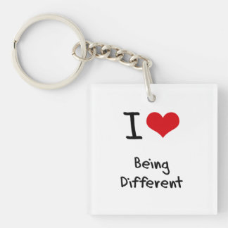 I Love Being Different Double-Sided Square Acrylic Keychain