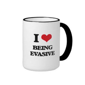 I love Being Evasive Ringer Coffee Mug