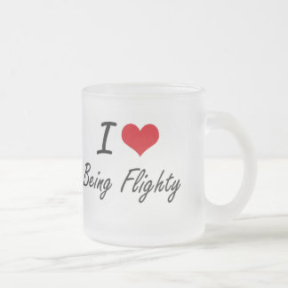 I Love Being Flighty Artistic Design 10 Oz Frosted Glass Coffee Mug