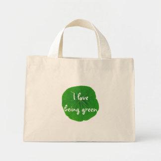I LOVE BEING GREEN MINI TOTE BAG