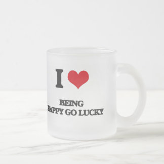 I Love Being Happy-Go-Lucky 10 Oz Frosted Glass Coffee Mug