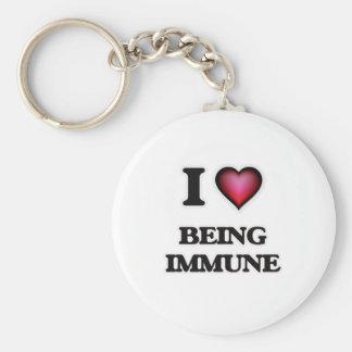 I Love Being Immune Keychain