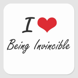I Love Being Invincible Artistic Design Square Sticker