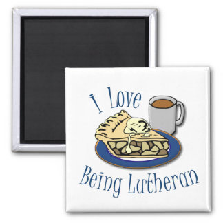 I Love being Lutheran Funny 2 Inch Square Magnet