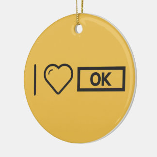 I Love Being Oks Double-Sided Ceramic Round Christmas Ornament
