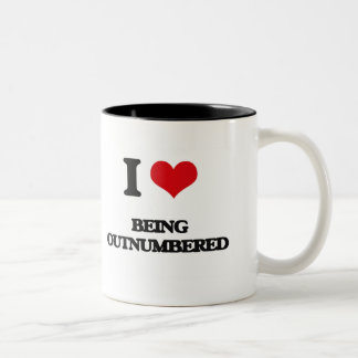 I Love Being Outnumbered Two-Tone Coffee Mug