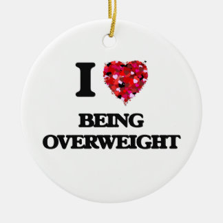I Love Being Overweight Double-Sided Ceramic Round Christmas Ornament