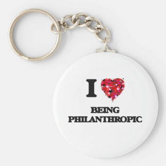 I Love Being Philanthropic Basic Round Button Keychain