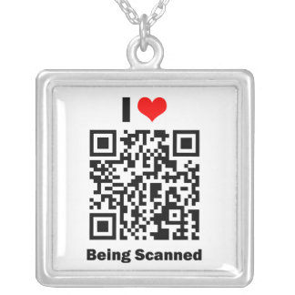 I Love Being Scanned Square Pendant Necklace