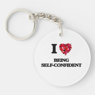I Love Being Self-Confident Single-Sided Round Acrylic Keychain