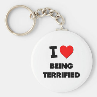 I love Being Terrified Basic Round Button Keychain