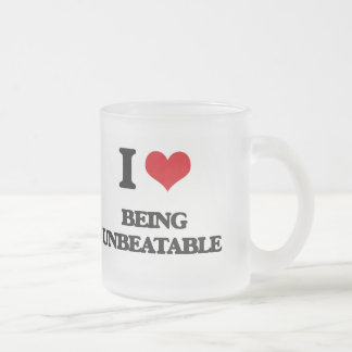 I love Being Unbeatable 10 Oz Frosted Glass Coffee Mug