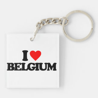 I LOVE BELGIUM Double-Sided SQUARE ACRYLIC KEYCHAIN