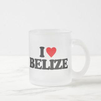 I LOVE BELIZE 10 OZ FROSTED GLASS COFFEE MUG