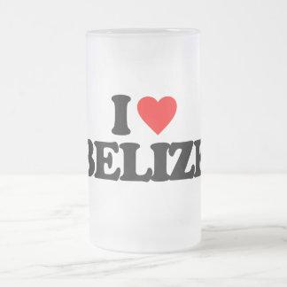 I LOVE BELIZE 16 OZ FROSTED GLASS BEER MUG